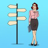 Fototapety Pop Art Doubtfull Business Woman on Crossroads Pointer Sign. Vector illustration