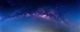 Landscape with Milky way galaxy. Night sky with stars. - 135941760