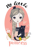 cute little princess with black cat