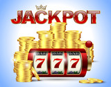 Slot machine with lucky seven and golden coins and red glossy jackpot text with crown on blue background.