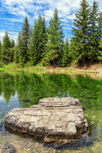 Poster Dolomiti - small lake called 'Lech dla Le' in Val Badia, Alto Adige, Italy
