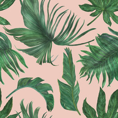 Watercolor painting seamless pattern with bananas and palm leaves