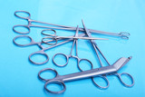 Surgical instruments and tools on table for a surgery
