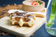 Waffles on the wood plate