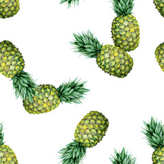 Seamless watercolor fruit illustration of pineapple. Pattern with tropic summertime motif may be used as background texture, wrapping paper, textile or wallpaper design.