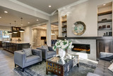 Chic living room filled with built-in fireplace - 135952742