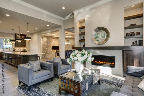 Sticker Chic living room filled with built-in fireplace