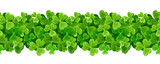 St. Patricks day vector horizontal seamless background with shamrock leaves.