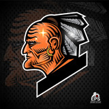 Man face profile with feathers in the head. Sport logo