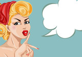 Pin-up sexy woman portrait with speech bubble. Silence Gesture girl hand drawn vector