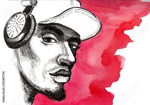 Black man in headphones - 135967794