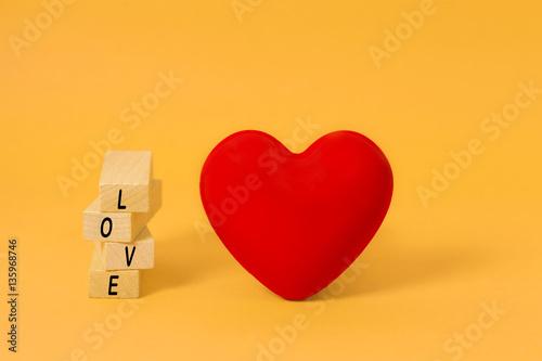 Poster Love message written in wooden blocks