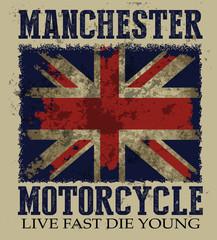 Vintage illustration on the theme of the British motorcyc