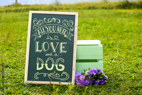 a blackboard written all you need is love and a dog on the grass Poster