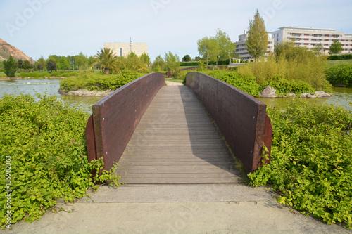 pasarela de madera en un parque