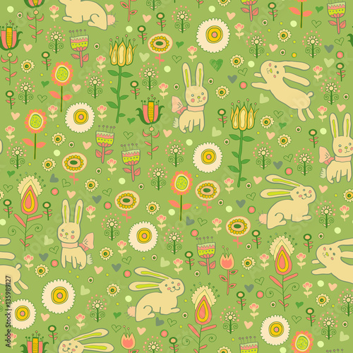 Materiał do szycia Ostern gentle rabbit seamless pattern