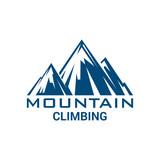 Sport alp mountain climbing vector isolated icon