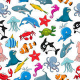 Cartoon sea fish and ocean animals vector pattern