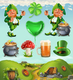 Feast of Saint Patrick. Fairy Tale Village. Leprechaun house 3d vector icon set