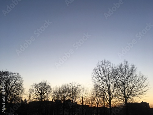 Poster sunset twilight in winter