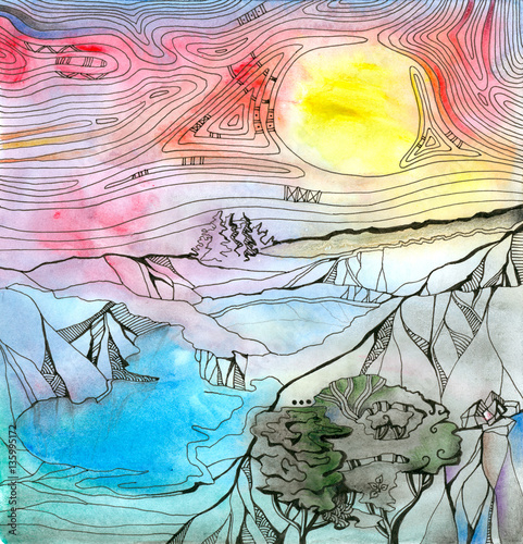 Fotobehang Zwavel geel Fantasy landscape with mountains, lakes and trees. Colorful sky with bright yellow sun. Hand drawn picture.