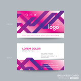 abstract purple ribbon background business card design