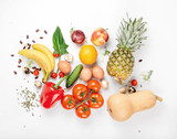 Variety health food on a white background