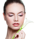 Spa Model Woman Holding White Lily Flower