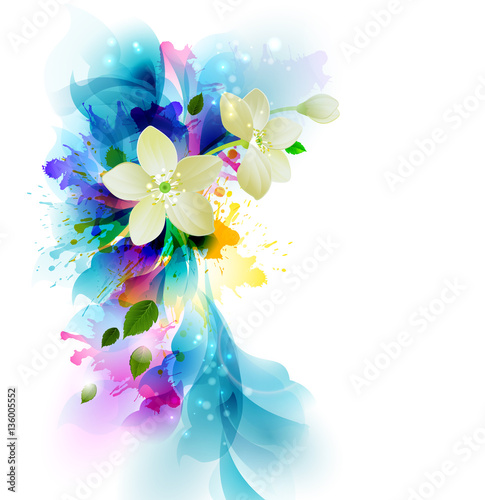 Foto op Canvas Bloemen vrouw Tender background with white abstract flowers on the artistic blobs