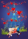 Fototapeta Eiffel Tower - Walentynki w Paryżu © klatki