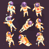 Astronaut In Space Suit Floating In Open Space In Different Positions Set Of Illustrations, - 136008371