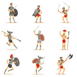 Gladiators Of Roman Empire Era In Historical Armor With Swords And Other Weapons Fighting On Arena Set Of Cartoon Characters