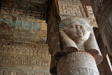Pillars decorated with face of the Egyptian goddess Hathor in Dendera temple