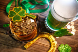 Pot of gold, green beer and shamrocks