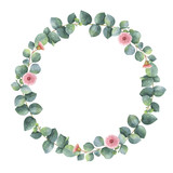 Fototapety Watercolor oval wreath with silver dollar eucalyptus.