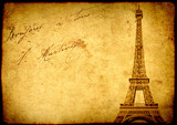 Vintage grunge background with old paper texture and Eiffel Towe