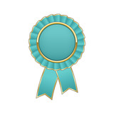 Cyan and gold award rosette with ribbon - 136021531