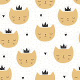 seamless cat princess pattern vector illustration