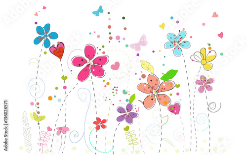Spring time colorful doodle flowers - 136026571