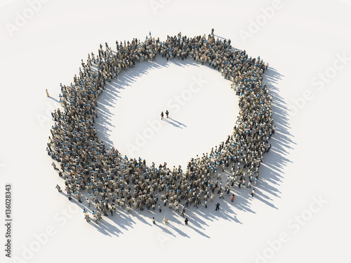 crowd of people as a circle