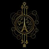 Gold Eiffel Tower Symbol