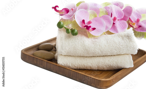 Spa setting with orchid flower and towels © marrakeshh