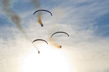 Paragliders on the sky - airshow