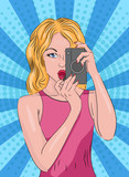 Color Pop Art illustration of a woman with an old camera. Pop art background. Retro girl. Illustration for your design