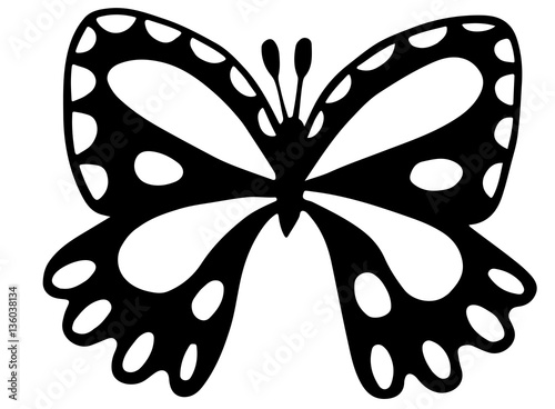 Black butterfly for coloring book, tattoo