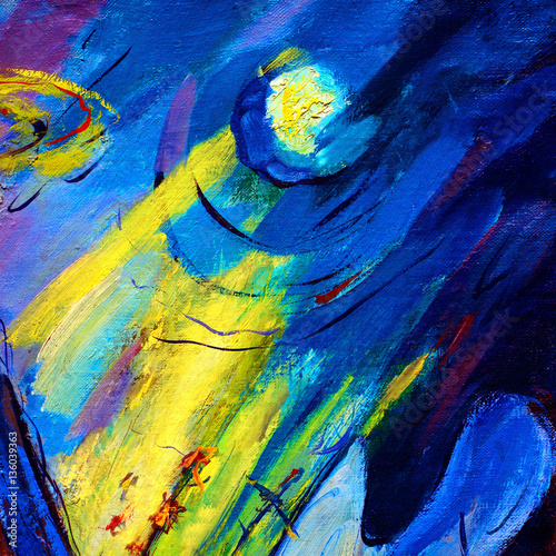 Obraz modern painting by oil on canvas on a space theme, illustration