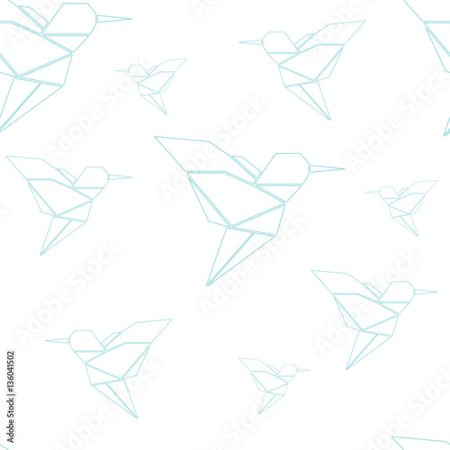 Origami birds seamless pattern in pastel colors. Vector illustration. - 136041502