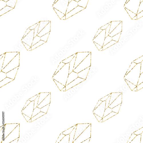 Gold crystals seamless pattern. Vector illustration.
