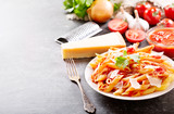 penne pasta with tomato sauce and parmesan