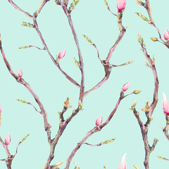 Seamless Pattern with Blooming Tree Branches